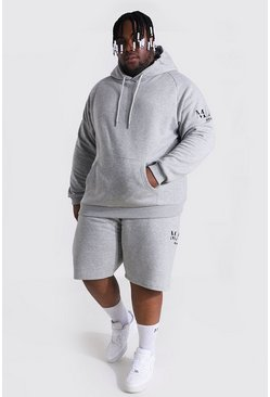 Plus Man Roman Sleeve Print Short Tracksuit, Grey marl