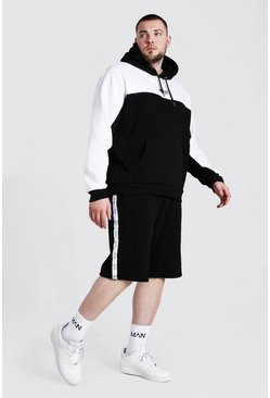 Black Plus Man Tape Colour Block Short Tracksuit
