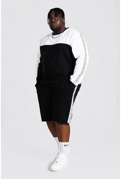 Plus Man Tape Colour Block Short Tracksuit, Black