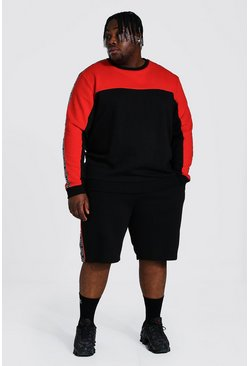 Plus Man Tape Colour Block Short Tracksuit, Red