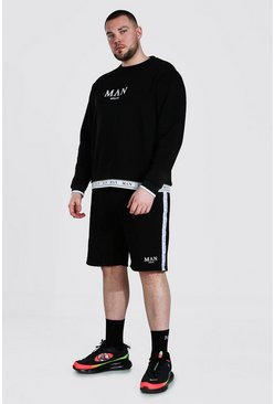 Grande taille - Sweat et short à bande - MAN, Black