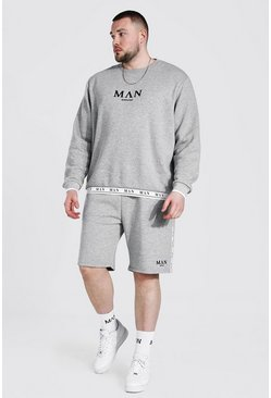 Plus Man Roman Short Tracksuit With Tape, Grey marl