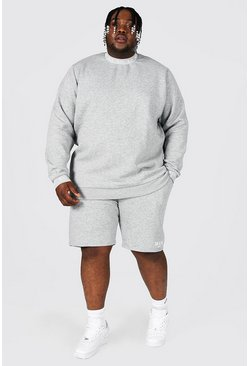 Plus Man Roman Short Tracksuit With Man Rib, Grey marl
