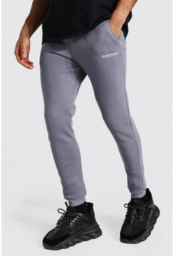 Charcoal Skinny Man Official Double Waistband Joggers