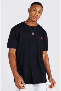 Black Valentines Heart Embroidered T-shirt