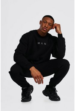 Black Oversized Man Extended Neck Sweater Tracksuit