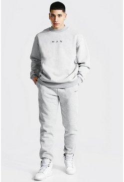 Grey marl Oversized Man Extended Neck Sweater Tracksuit