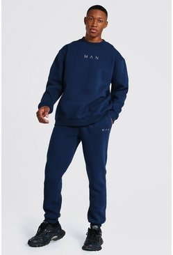 Navy Oversized Man Extended Neck Sweater Tracksuit
