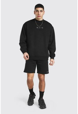 Black Oversized Man Extended Neck Short Tracksuit