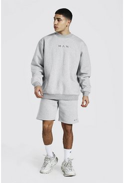 Grey marl Oversized Man Extended Neck Short Tracksuit