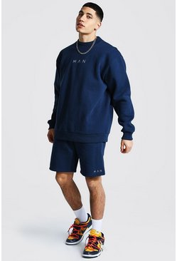 Navy Oversized Man Extended Neck Short Tracksuit