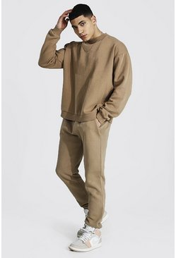 Oversized Overdyed Extended Neck Tracksuit, Taupe