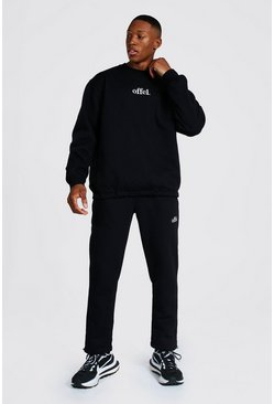 Black Oversized Offcl Extended Neck Toggle Tracksuit