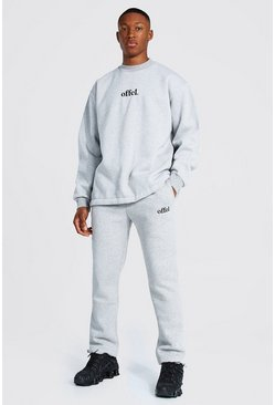 Grey marl Oversized Offcl Extended Neck Toggle Tracksuit