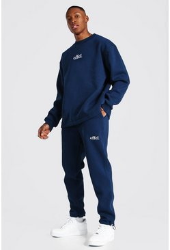 Oversized Offcl Extended Neck Toggle Tracksuit, Navy