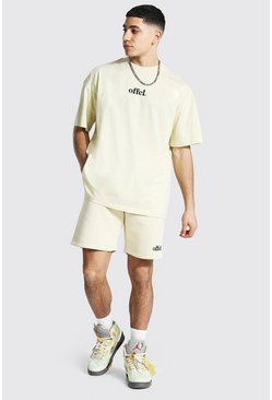 Oversized Offcl Extended Neck T-shirt & Short, Sand