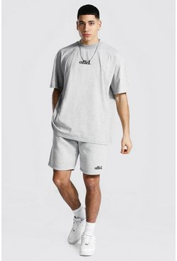 Grey marl Oversized Offcl Extended Neck T-shirt & Short
