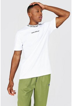 Man Official Jacquard Neck T-shirt, White