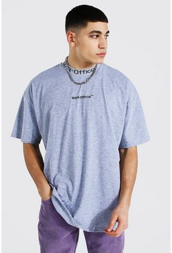 Grey marl Oversized Man Official Jacquard Neck T-shirt