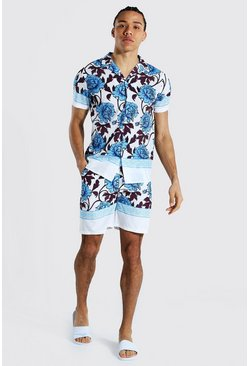 Light blue Tall Revere Floral Shirt And Swim