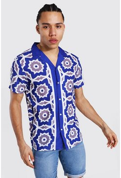 Navy Tall Short Sleeve Revere Satin Border Shirt