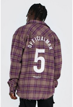 Oversized Check Shirt With Varsity Back Print, Purple