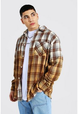 Orange Oversized Ombre Check Shirt