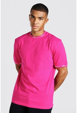 Pink Man Signature Neck And Cuff Print T-shirt
