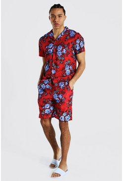 Red Tall Revere Oversized Floral Shirt And Swim