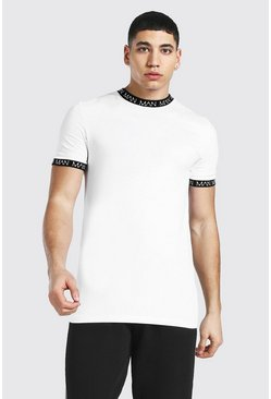 White Muscle Fit Original Man Contrast Ringer Tee