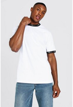 White Man Signature Contrast Ringer Neck T-shirt