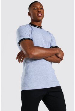 Grey marl Muscle Fit Man Signature Ringer T-shirt