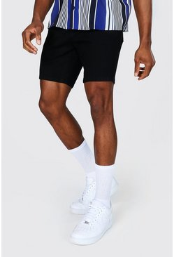 True black Skinny Stretch Denim Short
