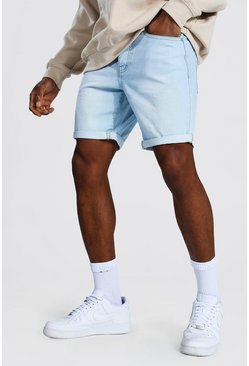 Light blue Slim Rigid Denim Short With Turn Up Hem