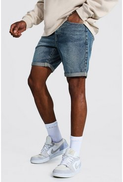 Vintage blue Slim Rigid Denim Short With Turn Up Hem