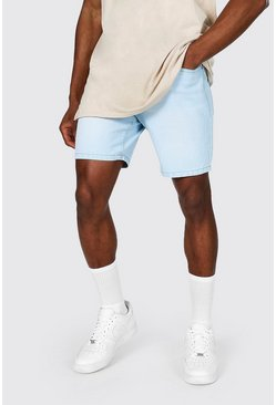 Light blue Slim Rigid Denim Short