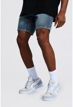Vintage blue Slim Rigid Denim Short