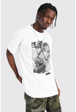 White Oversized Ice Cube Split License T-shirt