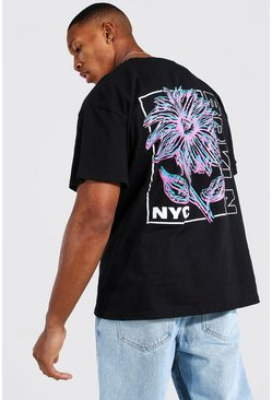 Black Oversized Nyc Floral Back Print T-shirt