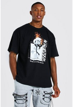 Black Oversized Flaming Rose Graphic T-shirt