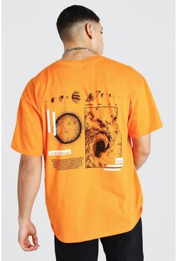 Orange Oversized Space Back Print T-shirt