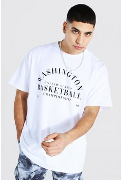 White Oversized Washington Print T-shirt