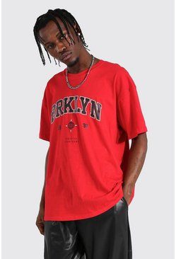 "Oversized T-Shirt mit ""Brooklyn""-Print, Rot"