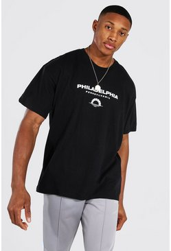 Black Oversized Philadelphia Print T-shirt