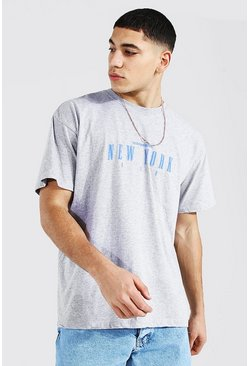 Grey marl Oversized New York Print T-shirt