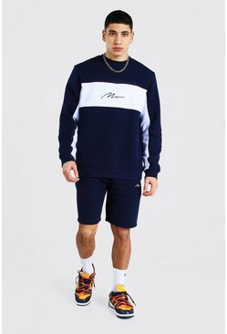 Man Colour Block Short Sweater Tracksuit, Navy