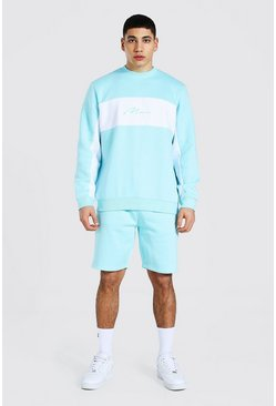Man Colour Block Short Sweater Tracksuit, Pastel blue