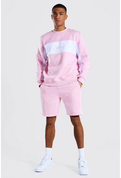 Man Colour Block Short Sweater Tracksuit, Pastel pink