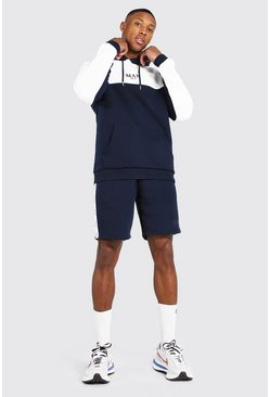 Navy Man Tape Colour Block Short Hooded Tracksuit