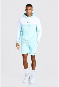 Pale blue Man Tape Colour Block Short Hooded Tracksuit